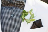 greenery non-floral boutonniere