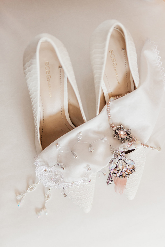 The bridal shoes were white textural ones, there was some pink jewelry that was heirloom