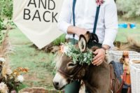 04 The groom was wearing a relaxed boho look with green pants and suspenders, brown shoes and a white shirt