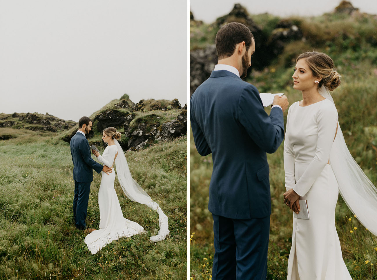 She was wearing a low bun with a veil for the ceremony and first looks