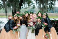 05 The bridesmaids were wearing mismatching black tops, rust tulle skirts and black leather jackets