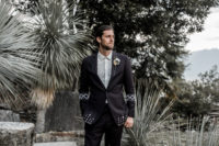 05 The groom designed his own deep purple tuxedo with embroidery for the wedding