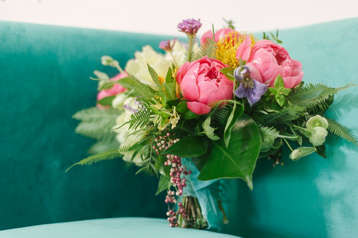 The wedding bouquet was colorful, lush and textural