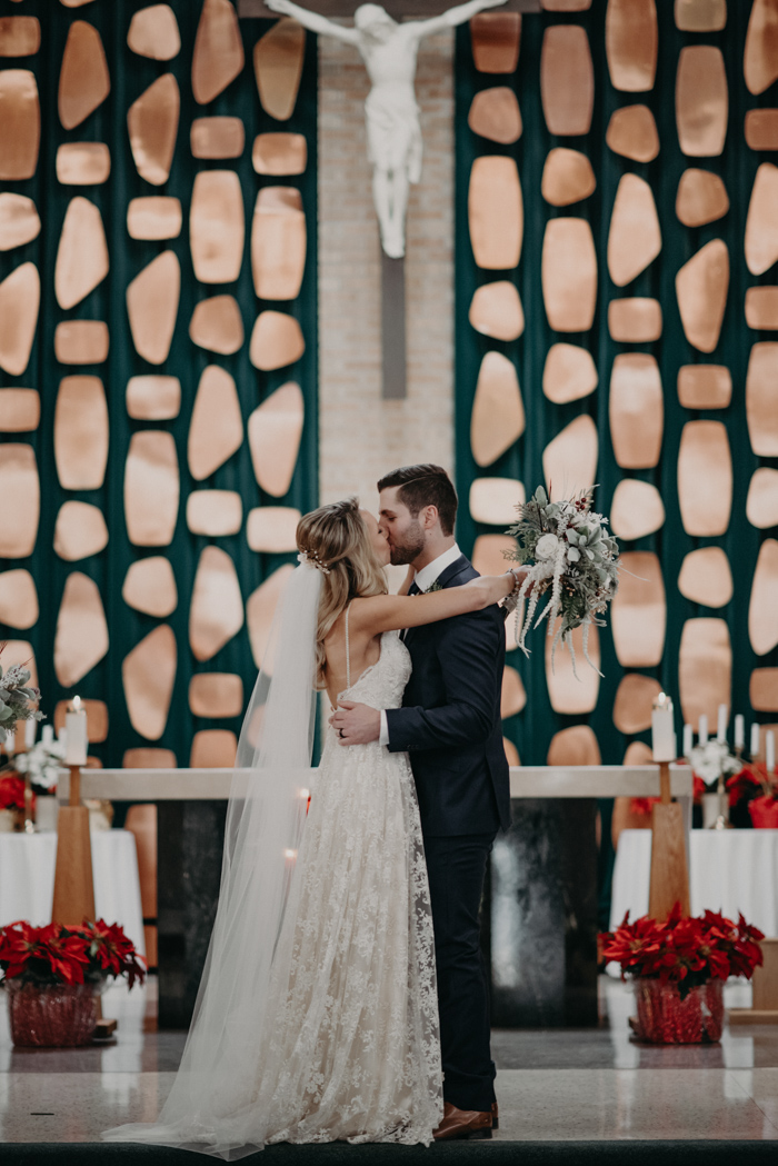 The wedding ceremony took place at a church