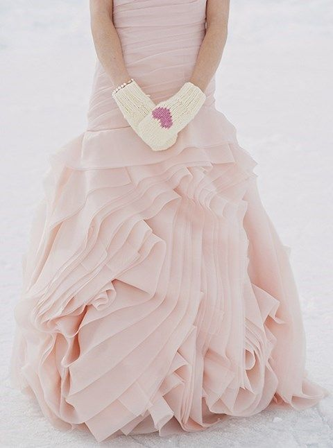 accent your gorgeous blush wedding gown with neutral mittens and a pink heart on them for a cute girlish look