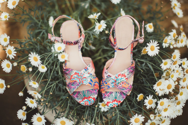 Here are the bridal shoes, bright and colorful ones