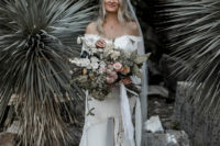 06 The bride was rocking a 100% silk off the shoulder gown with a long train