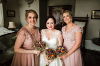 06 The bridesmaids were wearing dusty pink gowns with floral appliques