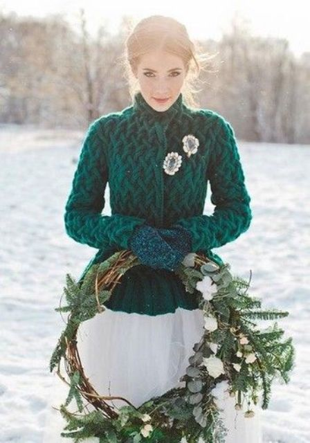 an emerald jacket and matching knit mittens in forest green for a colorful touch in the neutral bridal look