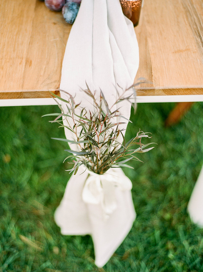 The runner was marked with herbs at each end to make the table setting feel more rustic