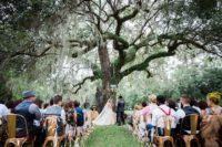 living tree as a wedding backdrop