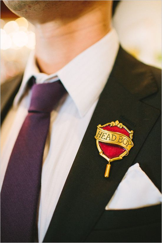 Harry Potter boutonniere idea for a groom or a groomsman adds color and adds a nerdy feel to the outfit