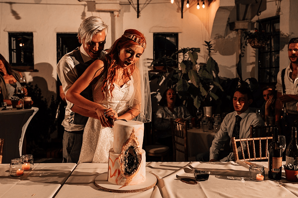 The wedding cake was a super trendy marble and geode one that was connected to the spiritual part of the ceremony with geodes