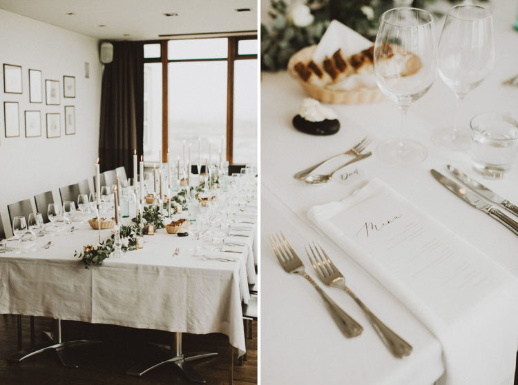 The wedding tablescape and decor were all-minimalist, with simple greenery and some metallic touches