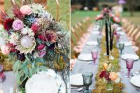 08 The wedding tablescape was done with a moss runner, black candles, bright blooms and colorful glasses