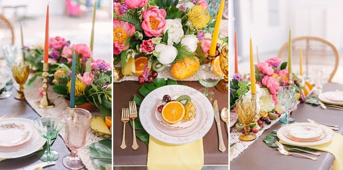 There were colorful candles, a macrame runner, tropical leaves and fruit plus lush florals