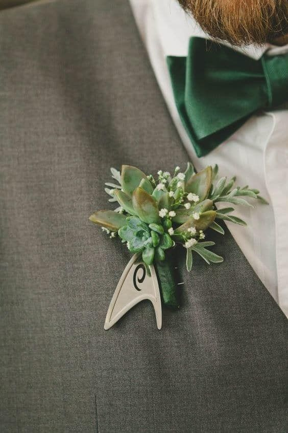 Star Trek inspired boutonniere with succulents and baby's breath for the real fans