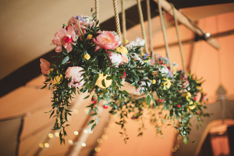The reception space was decorated with bright and lush florals