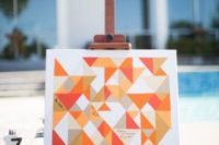 11 an ultra-modern bright geometric guest book idea to fill each piece on the artwork