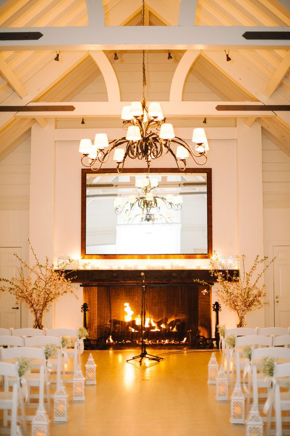 consider having a fireplace in your venue, it will warm up the space and make it super cozy, whether it's a reception or a ceremony space