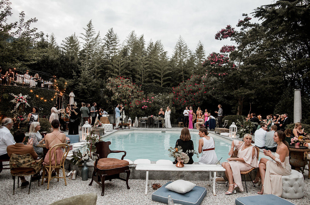 The wedding lounge was by the pool, and was done with comfy refined furniture