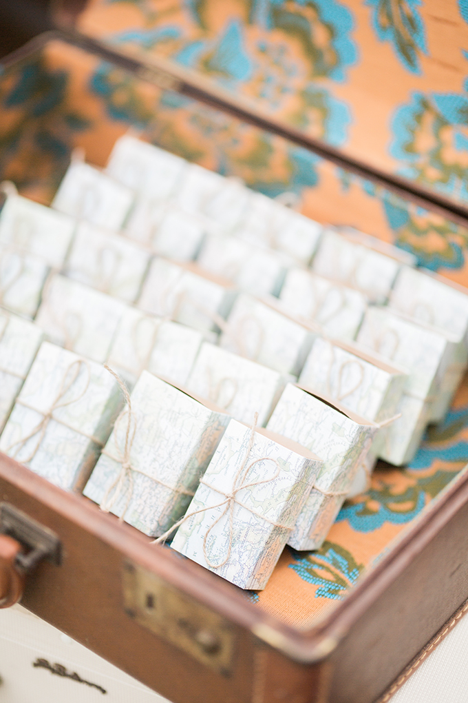 Pack your favors into map boxes if you are having a travel themed wedding