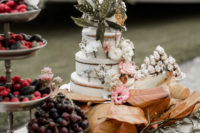 fruit table with a cake is perfect fro destination wedding