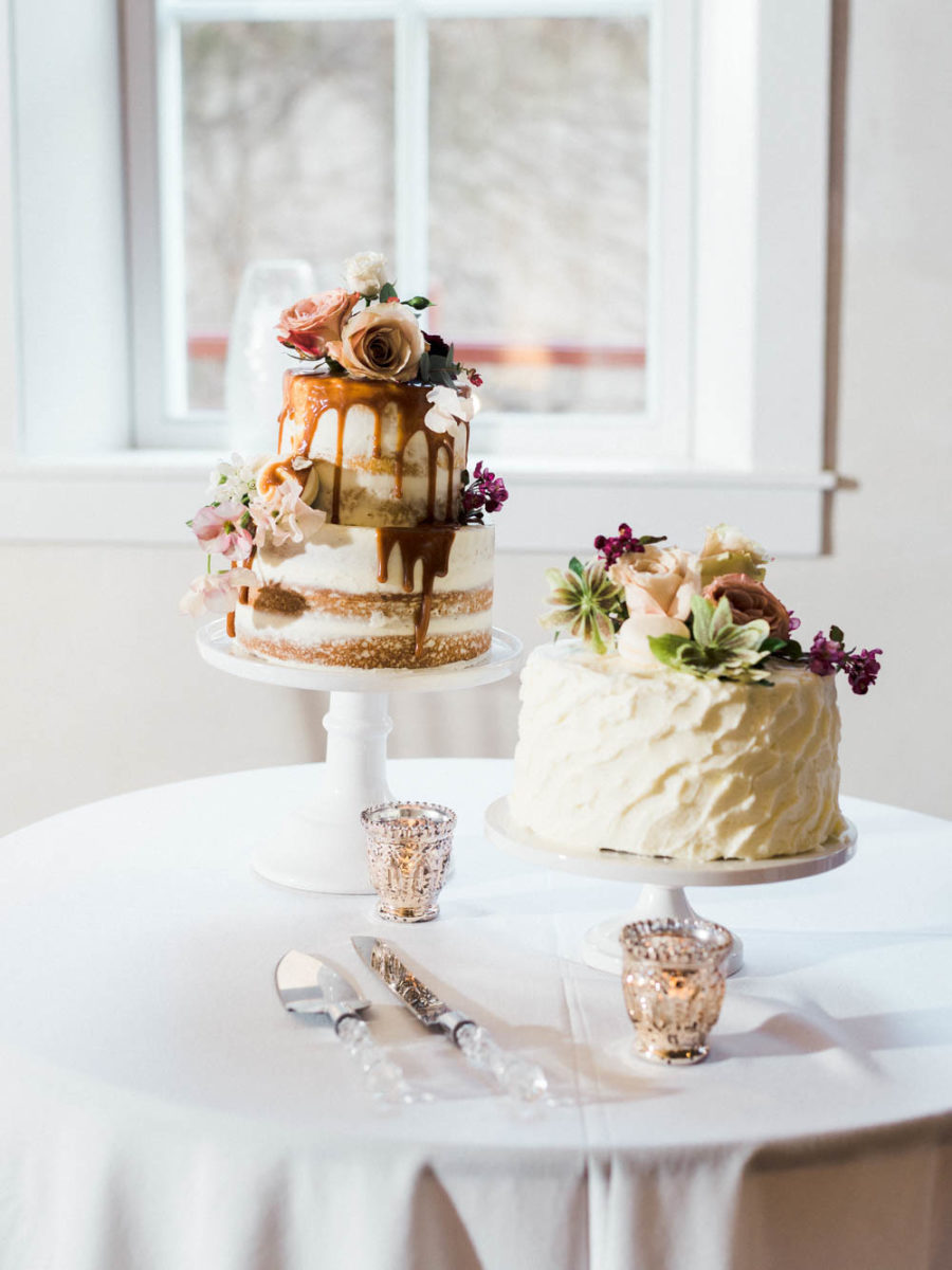 There were two wedding cakes, one naked with dripping and the second buttercream with a texture