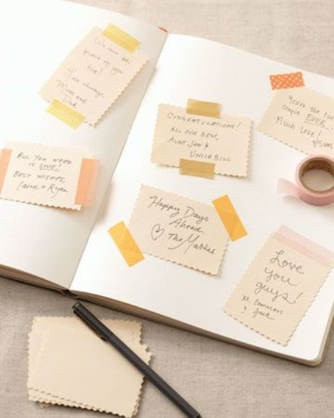 a simple washi tape guest book idea with some greets and wishes from your guests
