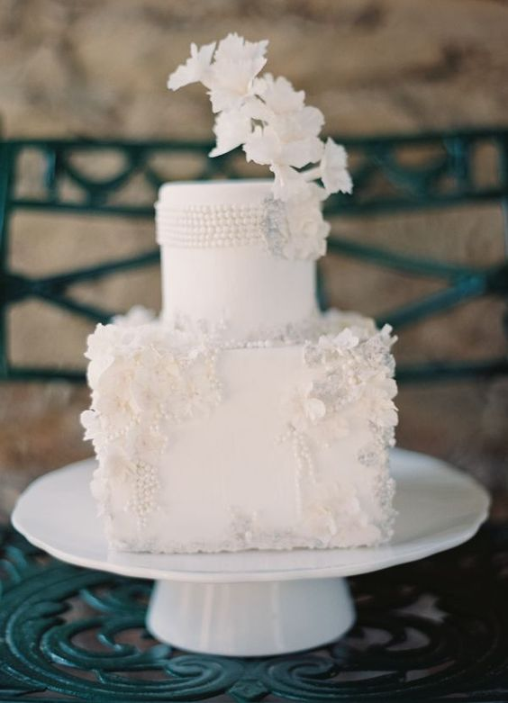 a fantastic vintage wedding cake in white with sugar flowers and pearls is a gorgeous idea for a vintage or art deco wedding