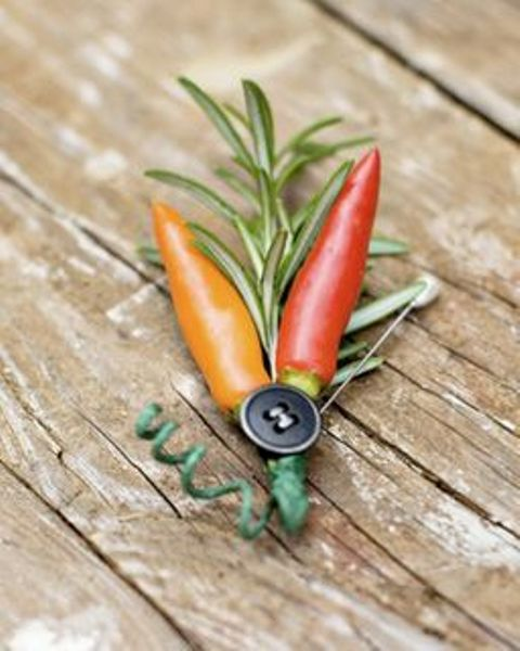 a fun rosemary, peppers and button boutonniere will add a bright touch to your wedding