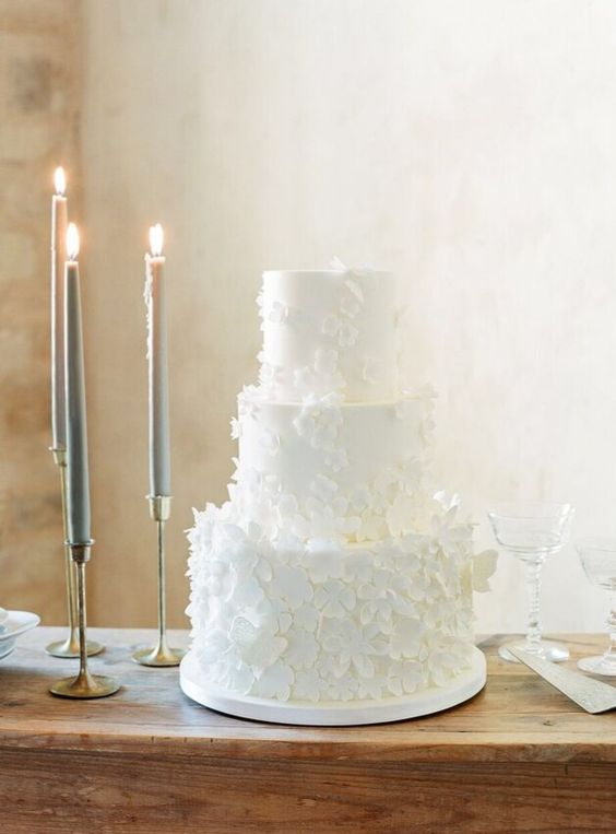 a white wedding cake with lots of sugar flowers attached is an utterly romantic and purely elegant idea