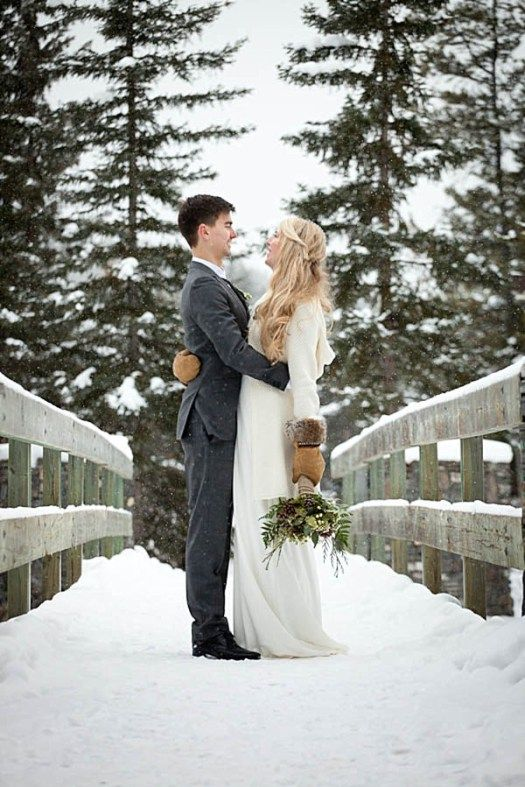 warm mittens trimmed with faux fur will make a statement in your winter bridal look and you'll embrace the season