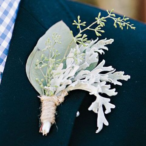 a pale greenery boutonniere of foliage, seeded eucalyptus and dusty miller for a frosty feel