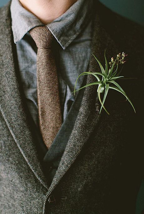 a cool boutonniere of an air plant and little blooms for a boho chic look
