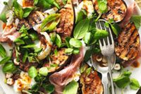 21 a fig, cheese, nuts, herbs and bacon salad is a hearty starter for a winter wedding
