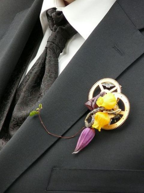 a gorgeous gear and flower boutonniere is a nice idea for a steampunk groom or to add an industrial touch to the outfit