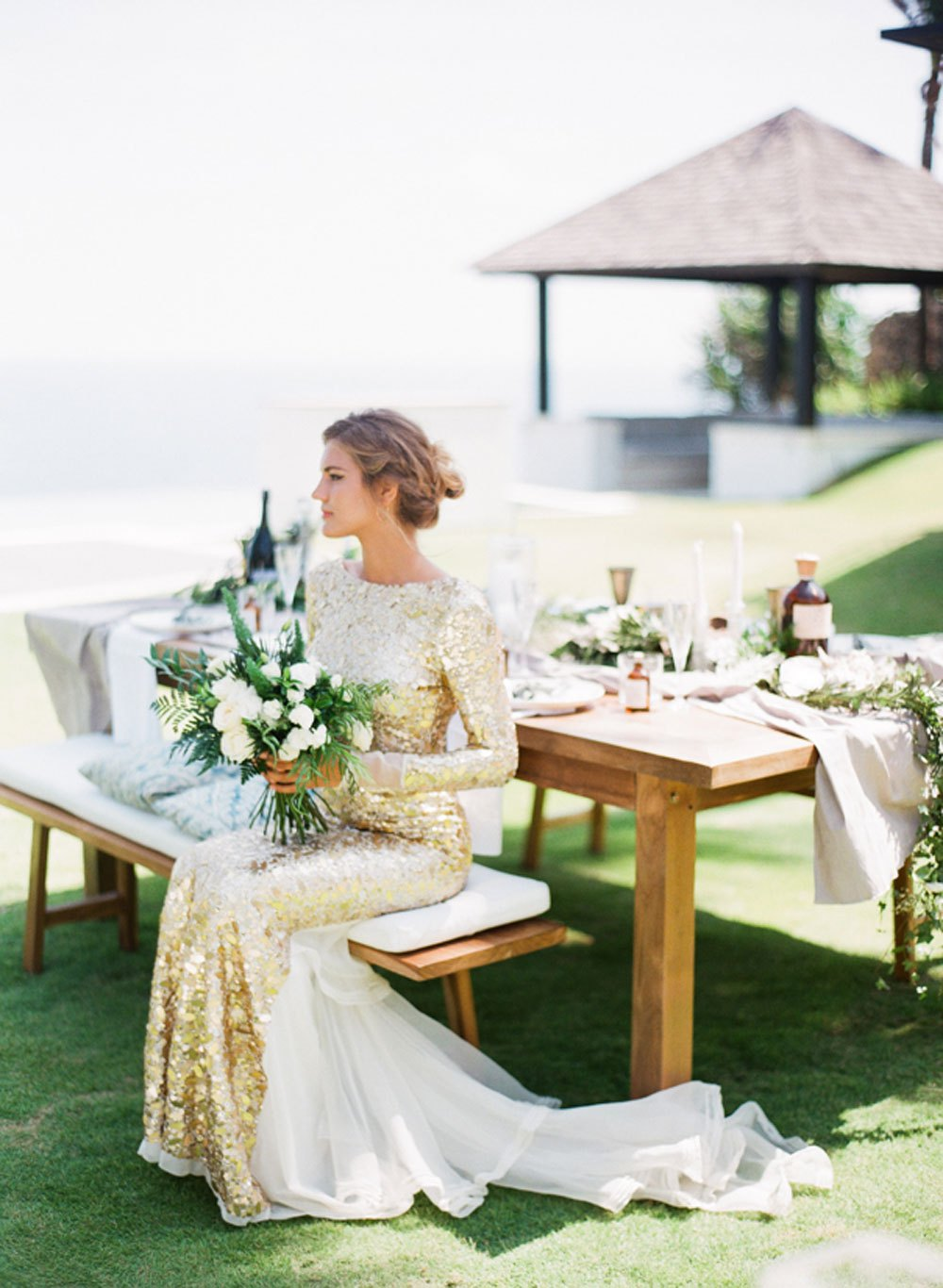 sheath wedding dress in gold tones