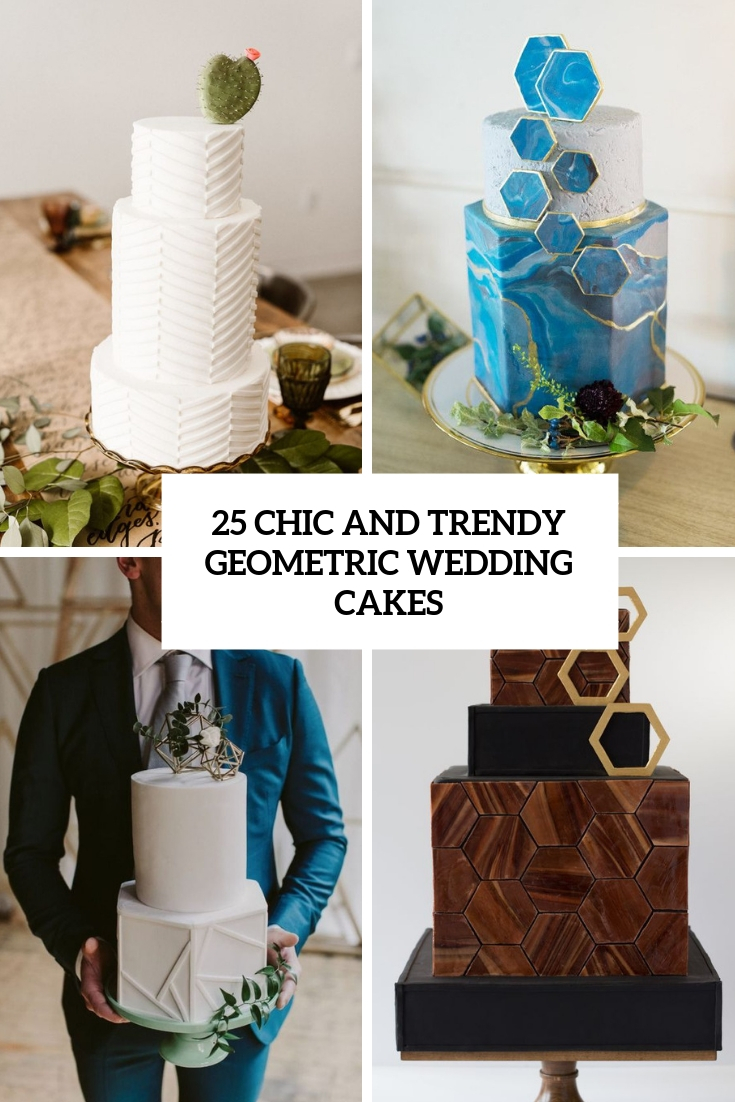 chic and trendy geometric wedding cakes cover