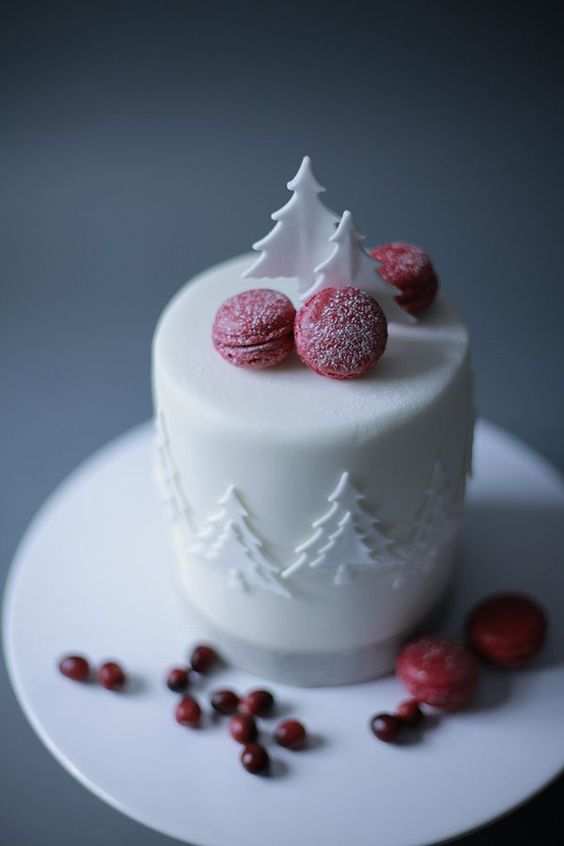 sugared cranberry macarons and white chocolate trees are amazing for a winter or a winter holiday wedding
