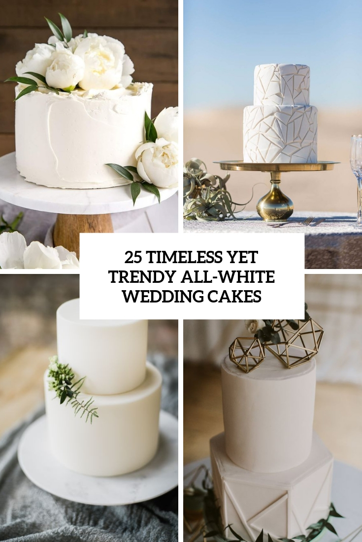 timeless yet trendy all white wedding cakes cover