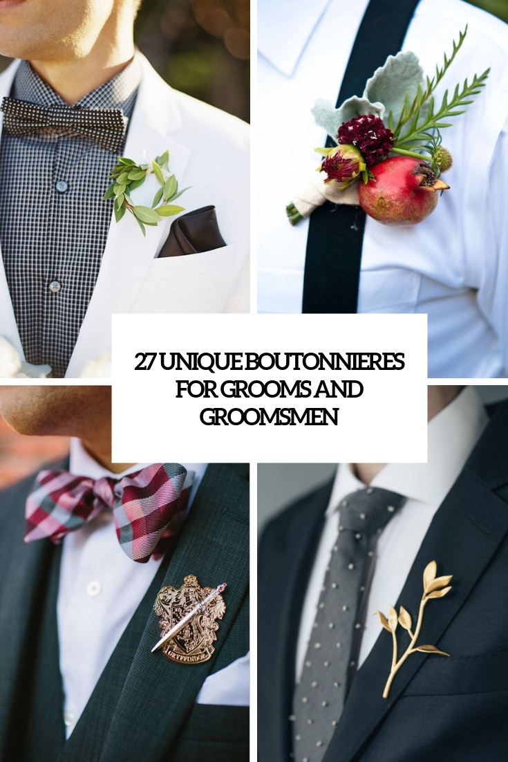 unique boutonnieres for grooms and groomsmen cover