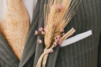 28 a white and pink bloom boutonniere is amazing for a rustic wedding in the fall or late summer