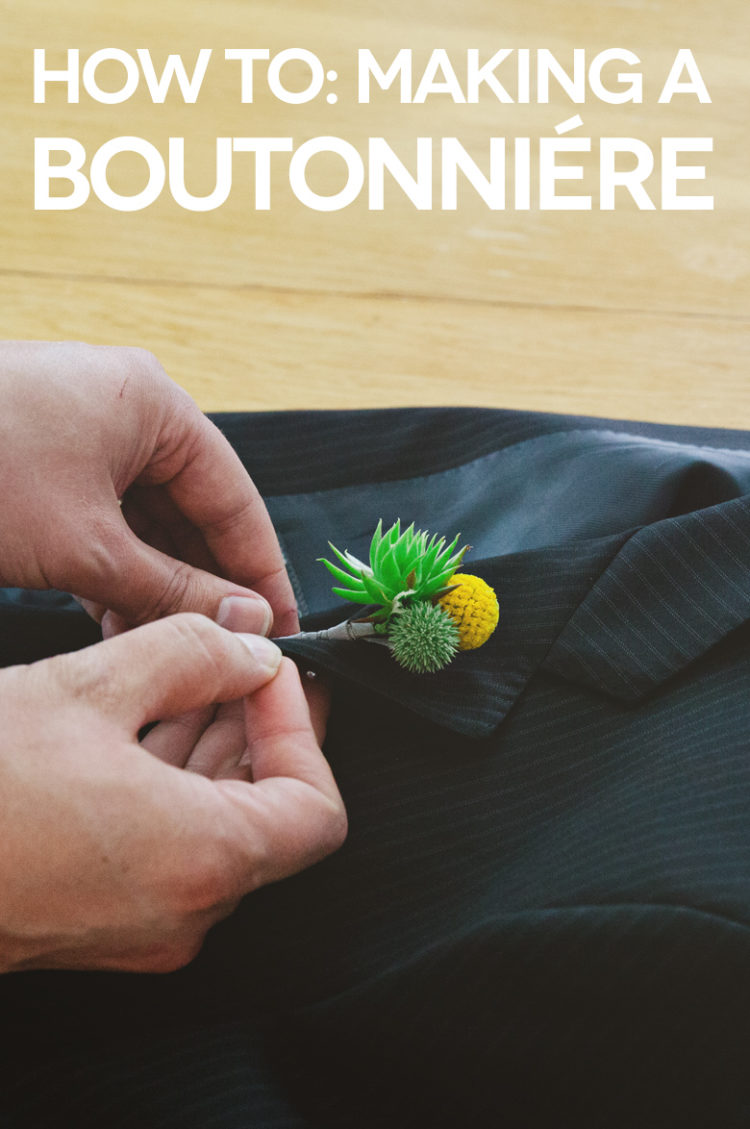 DIY wedding boutonniere with billy balls (via apracticalwedding.com)