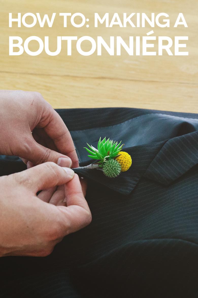 DIY wedding boutonniere with billy balls