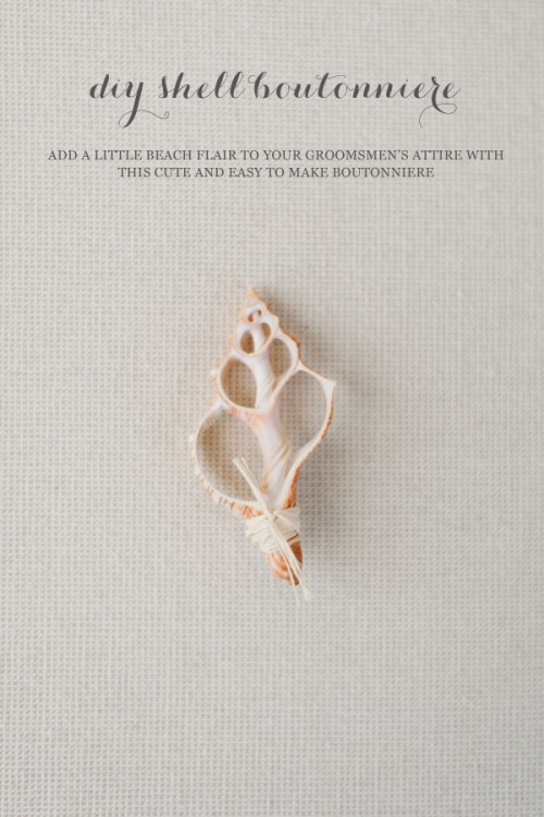 DIY cute seashell boutonniere with raffia (via www.weddingomania.com)