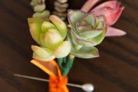 DIY succulent wedding boutonniere