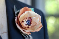 DIY paper flower boutonniere for a groom
