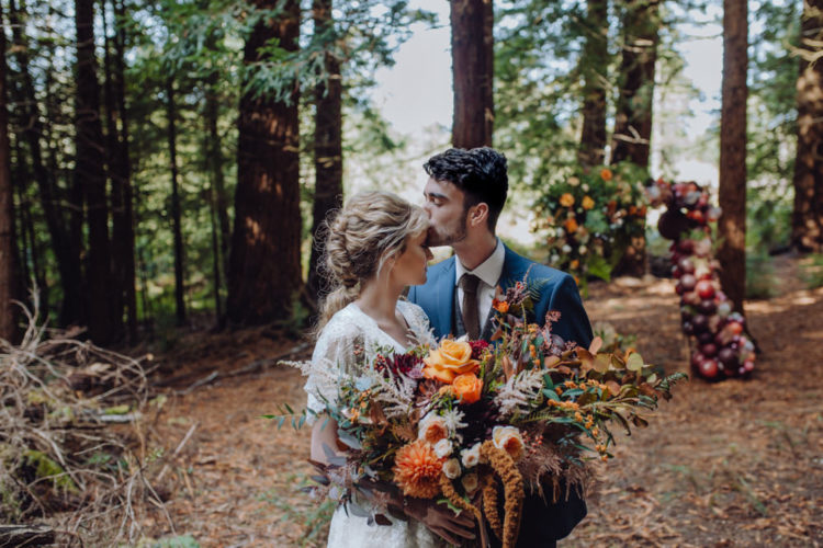 This beautiful rich colored wedding shoot is inspired by fall, industrial and woodland wedding styles