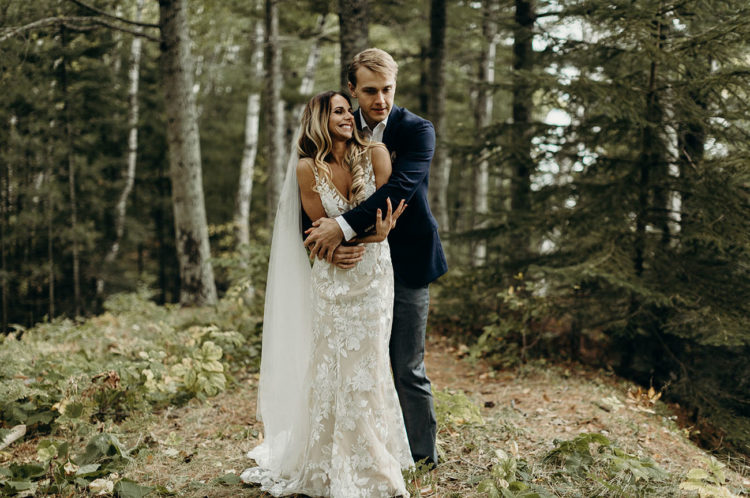 This couple went for an elopement at Lake Superior and held their reception in a cabin on an island